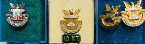 Veterans Administration Silver & 10 Kt. Gold Service Pins 25, 30, 35 & 40 Years