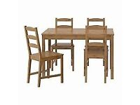 Pine dining / kitchen table and 4 chairs inn antique pine staining