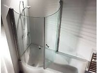 Curved glass shower bath screen 760mm/150mm Brand new Cooke and Lewis range from B&Q