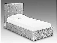 🩸TOP QUALITY🩸NEW SINGLE SIZE CRUSH VELVET DIVAN BED BASE WITH OPTIONAL MATTRESS💠