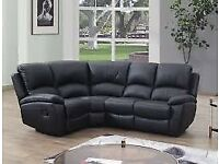 real black leather corner sofa rrp £1413 brand new boxed