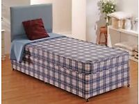 Brand New Single Bed set in Blue Check Fabric FREE delivery 2 available