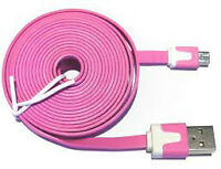 Noodle - USB to Micro USB Cable (2m Pink) & Power Adapter