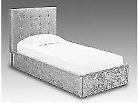 🔵💖🔴GREAT OFFER 🔵💖🔴SINGLE SIZE CRUSH VELVET DIVAN BED BASE WITH OPTIONAL MATTRESS💠