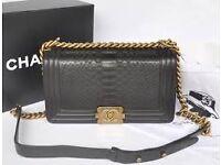 CHANEL Le Boy Handbag Python Skin Limited Bag - Gold Hardware