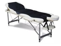 3 Section Lightweight Portable Folding Massage Table Luxury Beauty Couch Bed Black & White