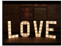 Giant LED Love Letters, Post Box, Candy Cart and Table Centre Pieces for HIRE
