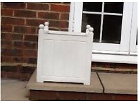 White Square Garden Pots Versailles white fibreglass square Planters various sizes, priced in pairs
