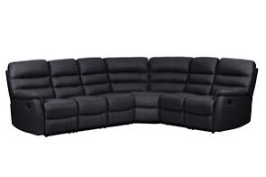 black corner lounge 6 seater with recliners genuine leather Sunshine Brimbank Area Preview