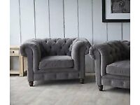 3 Seater Chesterfield Style Sofa & Matching Armchair (PERFECT CONDITION)