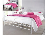 Double, White, Swirl, Metal Bed, Frame, New, with Sprung Mattress, Both, Deliver. Bargain.