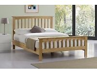 New 'Shaker' Wooden Double & King Size Oak/White Bed Frame (Free Local Delivery)
