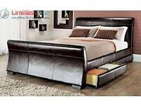 Madrid 4ft6 Double size leather sleigh bed with storage 4X drawers Brown