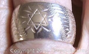 Vintage Sterling Silver Engraved Star of David Band Ring