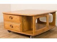 Vintage Ercol Blonde Pandora Coffee Table. Solid Wood