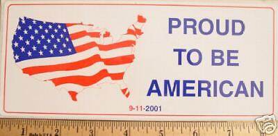 """""""PROUD TO BE AN AMERICAN"""" US Flag Map 9-11-2001 STICKER"""