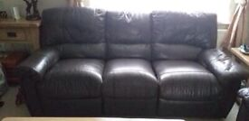Brown leather three piece sofa