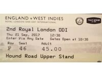 England v West Indies Cricket ODI x 2 Tickets at Trent Bridge - MUST POST TODAY 20.09.17