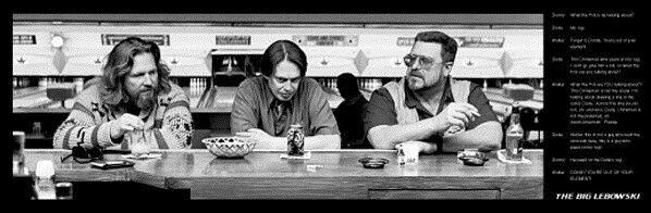 THE BIG LEBOWSKI ~ PEED ON RUG DIALOGUE 12x36 MOVIE POSTER Dude Jeff Bridges