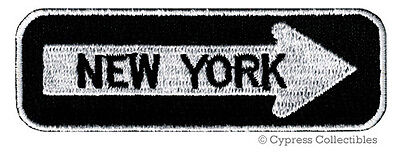 NEW YORK ONE-WAY SIGN EMBROIDERED IRON-ON PATCH applique STATE SOUVENIR ROAD