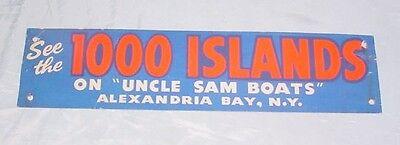 Antique Paper Bumper Sticker   1000 Islands   Uncle Sams Boats