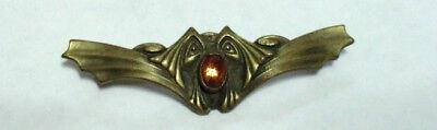 (Antique Victorian Brass Sash Pin Brooch Amber Glass Stylized Flying Fox Bat)