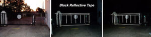 Black Reflective tape for gates - turns white in night light