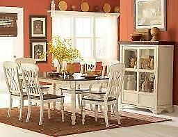 7pc Solid Wood Dining Set in an Antique White and warm Cherry Starting bid: $1,015.00 Regular Retail $2359