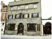 Bar staff wanted at the Golden Lion, Newmarket. £7.20 per hour. Full/Part time positions available.