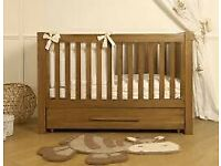 VIB Oak Baby Cot - Converts to Child's Bed