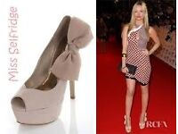 Miss Selfridge Nude Suede With Bow UK Size 5