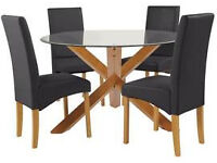 Heart of House Oakington Solid Oak and Glass Dining Table and 4 Black Leather Chairs