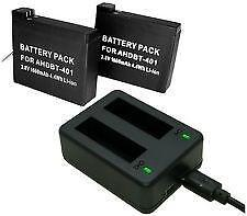 GoPro hero 3 4 camera battery charger with 2 spare batteries **