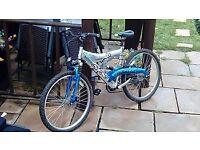 mans silver fox dual suspension mountain bike