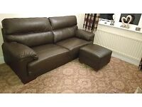 Sofa and Footstool, Leather, Chocolate Brown, Excellent Condition