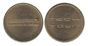 FAMOUS PLAYERS TECH TOWN ARCADE TOKENS