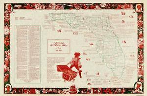 Old Florida Maps.Florida Map Ebay