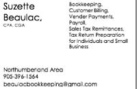 Bookkeeping/Personal tax preparation services in Northumberland