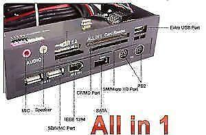 """5.25"""" Front Panel All-in-One HUB - SATA, IEEE 1394, USB, PS2, Mi"""