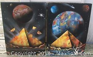 Pair Space Age Art Prints Mounted on Board