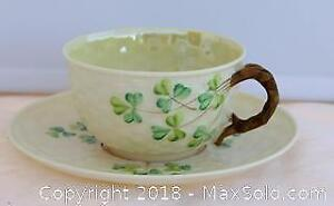 Antique Belleek Cup & Saucer With Black Makers Mark