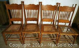 4 Antique Pressback Wooden Chairs with Cane Seats