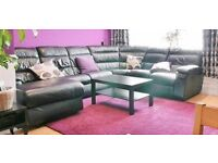 Leather corner Suite. Chaise lounge and electric Recliner + Footstool