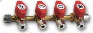 Gas Verteilerblock Gasventil 4 Abgänge für 8mm Rohr Ventil 70132Lg NEU