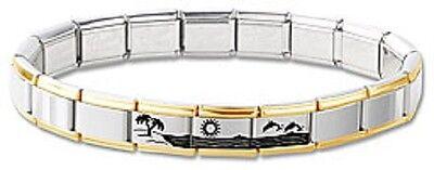 Italian Charm Bracelet Stainless Steel Gold Dolphins Hawaii Modular 3 Free Links ()
