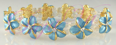 (BLUE HAWAIIN PLUMERIA FLOWER CRYSTAL BRACELET MADE WITH SWAROVSKI ELEMENTS)