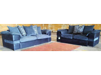 3 and 2 seater sofas grey and black.