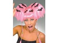 NEON PINK PIGTAIL FANCY DRESS WIG WITH BATS ON IT GREAT FOR HALLOWEEN PARTY