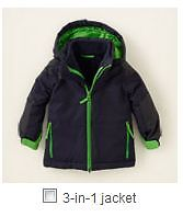 Boys 3 in 1 CHILDREN'S PLACE Winter Coat Ski Jacket Size T3
