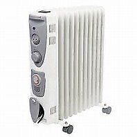 Great 2.5kw 11 Fin Oil Filled Radiator with Adjustable Thermostat, 3 Heat Settings & 24 Hour Timer